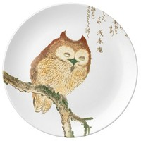 JAPANESE OWL ON A MAGNOLIA BRANCH Porcelain Plate