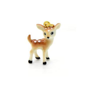 Miniature Porcelain Baby Deer Fawn Charm Deer Pendant Hand Painted Porcelain Charm Glass Deer Charm Vintage Style Jewelry Supplies (AQ027)