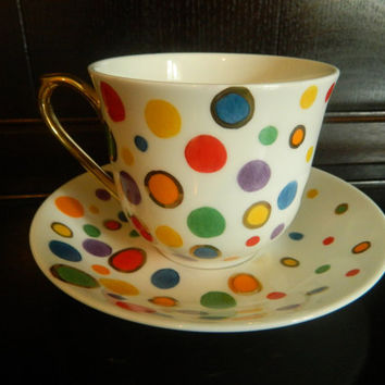 bright polka dots hand painted fine bone china teacup