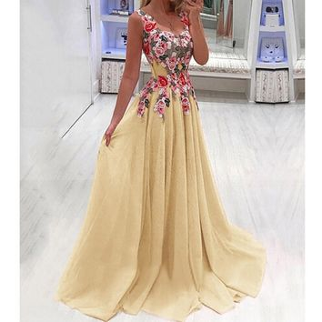 Floral and  Lace Elegant Floor Length Gown