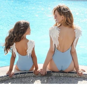Backless Embroidery Wing One Piece Mommy And Me Swimsuits