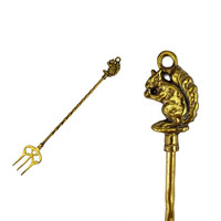 Vintage Brass Squirrel Toasting Fork Kitchen Fireplace Wall Decor Hanging Fireside Accessories Tools Ornament