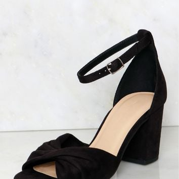 Twisted Peep Toe Platform Heels Black