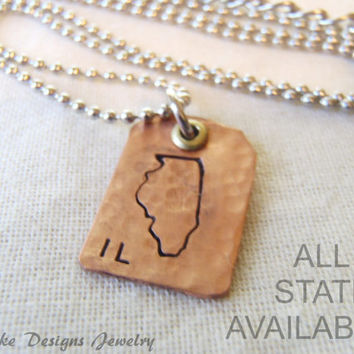copper state necklace personalized states California Iowa Virginia New York Texas Michigan Ohio ALL STATES