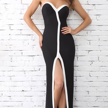 Rise To The Occasion Black White Trim Strapless V Neck Front Slit Maxi Dress