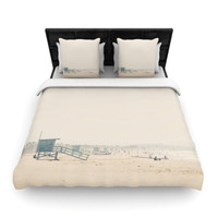 "Laura Evans ""Summer Haze"" Coastal Brown Woven Duvet Cover"