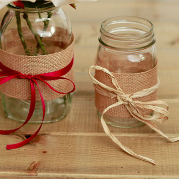 Mason Jars Vases with Burlap and Ribbon