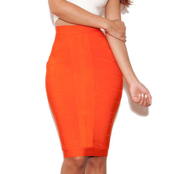 Clothing : 2 Pieces :'Senta' White and Orange Bandage Two Piece
