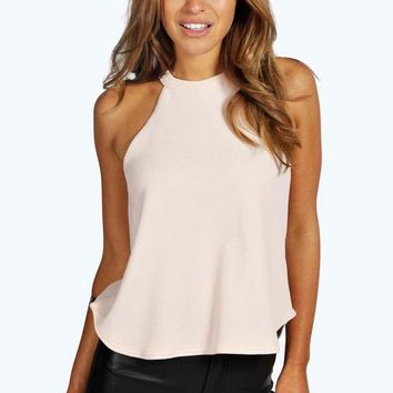 Petite Eva High Neck Strap Top | Boohoo