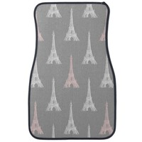 Paris Eiffel Tower White Pink Gray Car Mats
