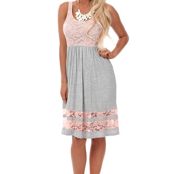Grey Day Dress with Blush Lace Details