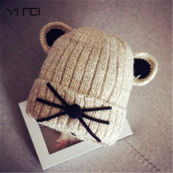 YIFEI 2018 Autumn Winter 6-20months child Hat Cotton Beanie Cap Toddler Baby Girls and Boys Knitted Hats Kids Hats & Caps