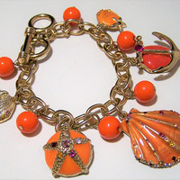 Beach Theme Enamel Charm Bracelet,  Orange Sea Shell Charms, Multi Color Rhinestone Highlights, Sand Dollar Anchor, Summer Fashion 218