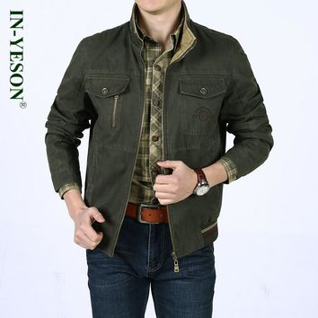 IN-YESON brand men's jacket Spring Autumn safari style tactical army military jacket men stand collar cotton zipper veste homme
