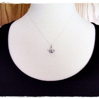 Tiny Flower Teapot Charm Necklace in Sterling Silver with a Delicate 18 Inch Sterling Silver Cable Chain