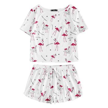 RWL Boutique -  Allover Flamingo Letter Print Tee & Shorts Pajamas Set  Casual Nightwear