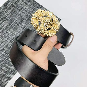 Chrome Hearts VERSACE Fashionable Women Smooth Buckle Leather Belt