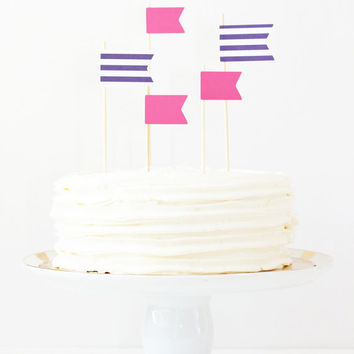 Cake Topper Girls Birthday Party Pink Purple Flag Toppers Stripe Pennants Pink Party Supplies Cake Decorations Girl Baby Shower / Set of 5