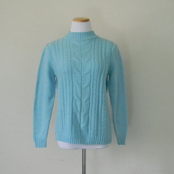FREE usa SHIPPING Vintage ladies cable knit powder blue pullover sweater preppy hipster nerd geek acrylic nylon size S