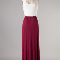 Game Day Maroon and Ivory Maxi Dress