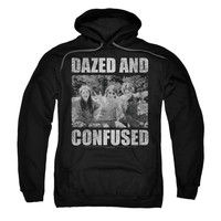 Dazed And Confused Men's  Rock On Hooded Sweatshirt Black Rockabilia