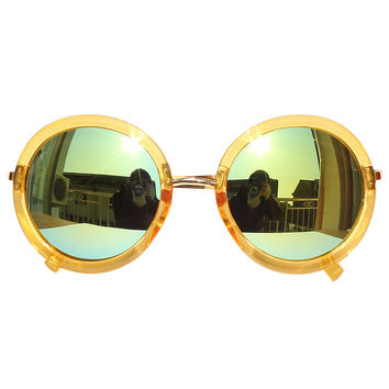 Yellow Mirror Lens Metal Bridge Round Sunglasses