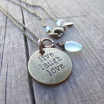 LIVE LAUGH LOVE Bronze Aqua Blue Chalcedony Crystal Bead Necklace Pendant Wire Wrap Brass Handmade Jewelry