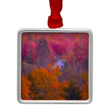Colorful Trees with Home Square Metal Christmas Ornament