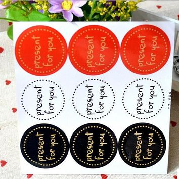"90PCS/lot  Round Design ""Present for you"" Series Kraft paper Sticker for Handmade Products/for baking/Gift seal sticker label"
