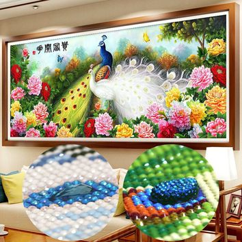 120*51cm Diy Special Diamond Embroidery Full Drill Painting 5d Wall Decor Peacock Round Drill