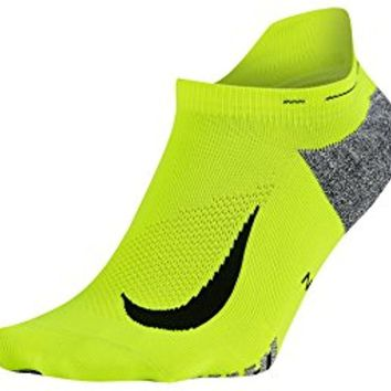 Nike Men's Elite Lightweight No-Show Tab Running Socks (Men's 12-13.5, Volt (SX5644-702) / Black)