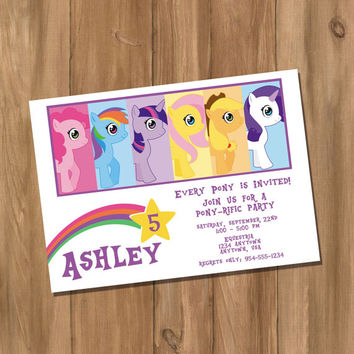 My Cute Pony My Little Pony Inspired Birthday Party Invitation with Photo (Digital - DIY)