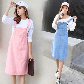 Vetevidi Summer Skirt Women Denim Suspender Skirt Jeans skirt Blue Jeans Casual shoulder-straps Front Pocket Overall Skirt