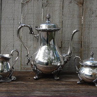 Silver Coffee Service, Du Barry Floral, Wilcox, Silver Plate, Silverplate, Silver Plated, Coffee Set