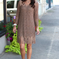 Shake It Suede + Crochet Dress {Mocha}