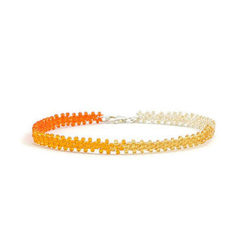 Ombre Anklet - Chain Ankle Bracelet - Beaded Jewelry - Beach Anklet - Foot Jewelry - Orange Anklet - Seed Bead Jewelry