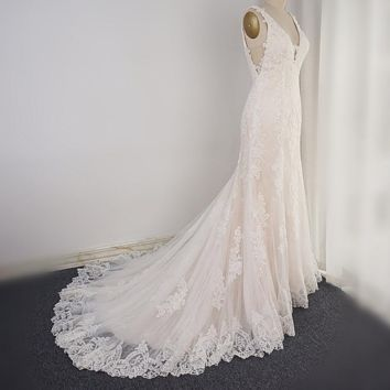 V Neck Wedding Dress Lace Appliqued Low Back A line Bridal Gown