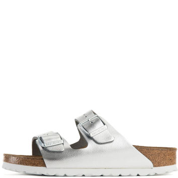 Birkenstock for Women: Arizona Liquid Silver Leather Soft Footbed Narrow Sandal