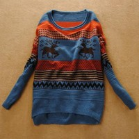 Loose Vintage Adorable Deer Sweater Blue$40.00
