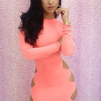Pink Long Sleeve Cut-Out Side Bodycon Midi Dress