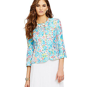 Ruby Rd. Petite Button Front Blurred Spots-Print Crinkle Metallic Jack