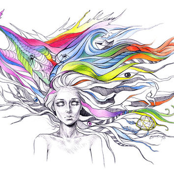 Dreams are made winding through her hair Art Print by EDrawings38