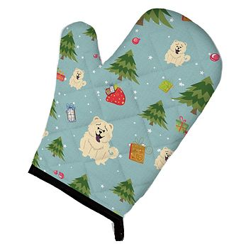 Christmas Chow Chow White Oven Mitt BB4800OVMT