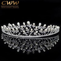 CWWZircons Noble CZ Crystal Birdal Headpiece Wedding Hair Accessories Big Pearl Tiara Crown Headband Jewelry For Women A004