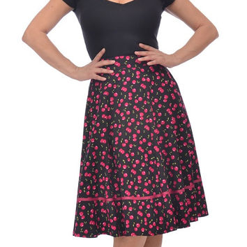 Retro Vintage Pin-up Cherry Cherries Swing Skirt