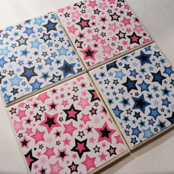 Pink and Blue Stars Ceramic Coasters set of 4 by myevilfriend