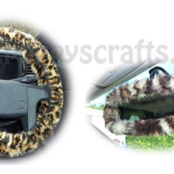 Leopard Print fuzzy steering wheel cover with cute matching rearview interior mirror cover