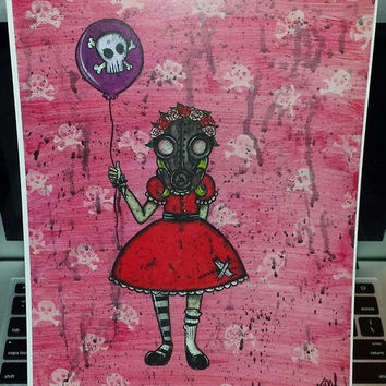 Her name was Doomsday. Gas mask, Girl, Balloon, Creepy, Spooky, Goth, pink, Outsider art, painting, print.