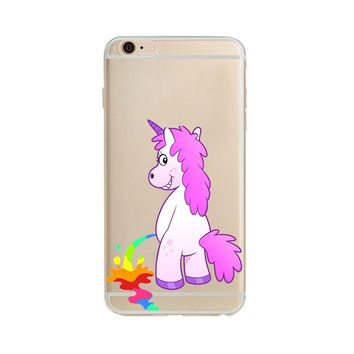 For Apple iPhone 5 5S 6 6 S 6 SPlus beautiful rainbow Hippo unicorn transparent plastic horse case