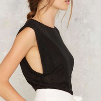 Nasty Gal Put Some Muscle Into It Ribbed Tee - Black